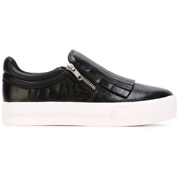 ASH Fringe Detail Slip-On Sneakers ($233) ❤ liked on Polyvore featuring shoes, sneakers, black sneakers, leather slip on sneakers, black shoes, leather sneakers and wedge sneakers