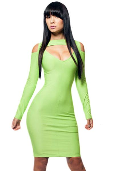 Robes Moulantes Sexy Bright Vert Cut Out Robe Pas Cher www.modebuy.com @Modebuy #Modebuy #CommeMontre #me #robes #comments4comments