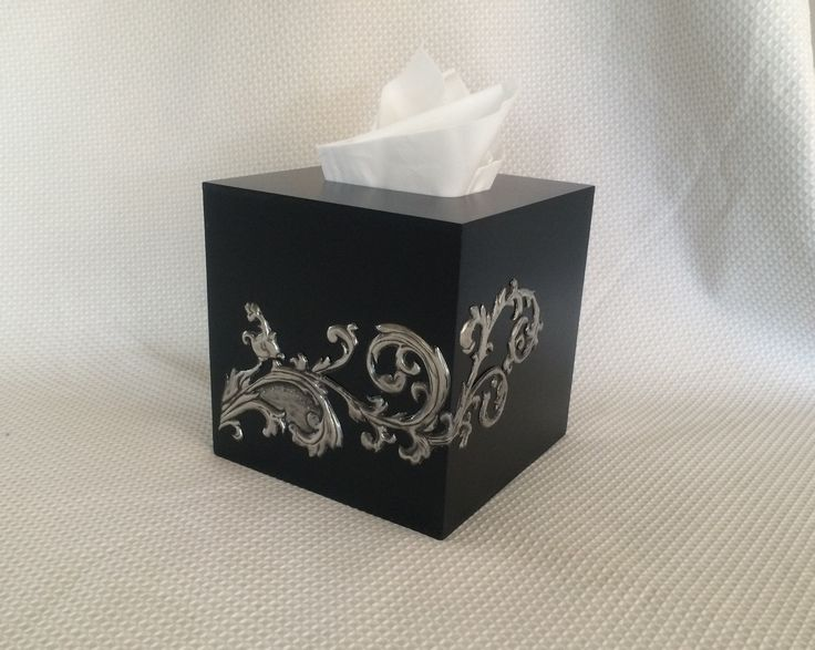 Pewtered tissue box made by Belinda at Pewter Me Blue www.facebook.com/pewtermeblue