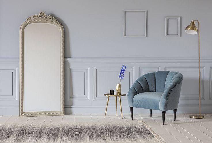 Rose Armchair in High Tea with Edith Mirror, Rochelle Side Table, Desi Floor Lamp & Cyrus Rug