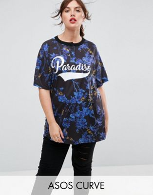 ASOS CURVE T-Shirt with Paradise Print
