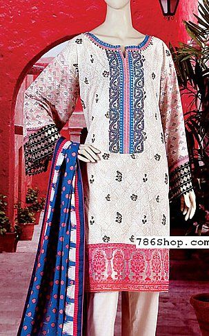 Off-white/Pink Lawn Suit | Buy Junaid Jamshed Eid Collection Pakistani Dresses and Clothing online in USA, UK