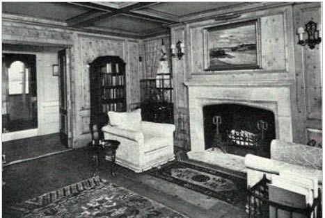 The living room aboard William K. Vanderbilt, Jr.'s yacht 'Alva.'