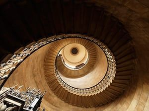 Hidden London interiors: St Paul's Cathedral, view of geometric staircase