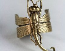 ANELLO in ottone bronzato di libellula. Regolabile. Art Nouveau, Steampunk vittoriano, natura Dragon fly, gotico, medievale, oro o argento versioni
