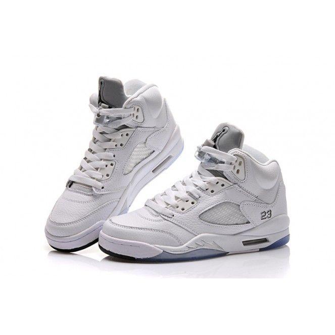 Air Jordan 5 Basketball Shoes White Grey