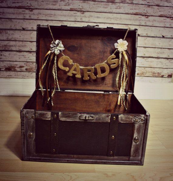 Wedding Card Holder-Wedding Card Box-Trunk-Suitcase-Wood trunk-Wedding Card Box and card sign. $49.00, via Etsy.