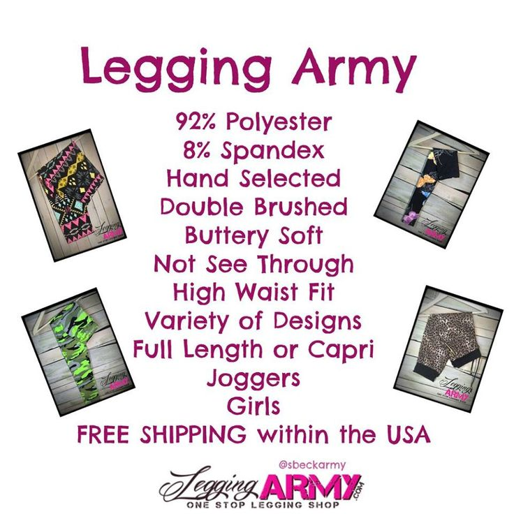 Legging army info http://leggingarmy.com/#MelissaMichaels Smooth comfy silky one size fits 3-14 we have kids and plus sizes too!!!! Check out these amazing leggings!!! Pull get addicted!!!!