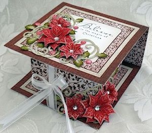 Fold Over Box Tutorial Video 13:26 min Splitcoaststampers  by Liz Walker  Combine gift and card in one with this beautiful covered box.