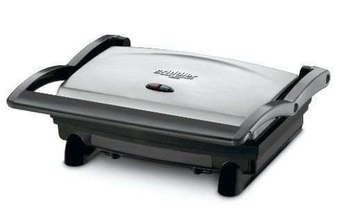 Cuisinart GR-1 Griddler Panini and Sandwich Press. Panini press and sandwich creator in brushed stainless-steel housing Upper and lower 11-by-7-inch nonstick, non-removable flame broil plates Floating pivot acclimates to oblige any size sandwich; preset temperature Helpful marker lights; guidelines, formulas, and, best offer