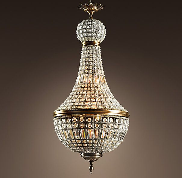 """Restoration Hardware - 19th C. French Empire Crystal Chandelier Large $2195 In the early 17th century, chandeliers such as this cast light over French nobility and later sparkled throughout Morocco. We've recreated the North African version, complete with its hundreds of hand-polished crystals, and wired it for lighting that's both elegant and electric.     Overall: 20¾"""" diam., 46¼""""H     Chain: 39½""""L     Weight: 36.8 lbs."""
