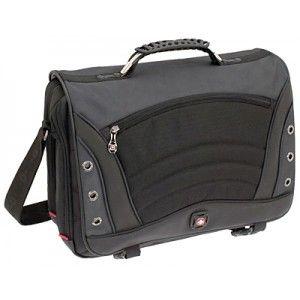 """Bolsa para portátiles  de hasta 17"""". Fabricada en poliéster con original diseño moderno y deportivo. Color Negro."""