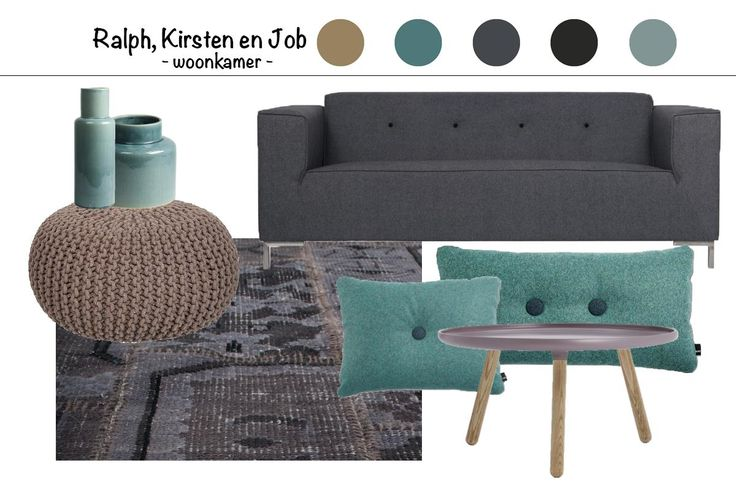 interieur advies, bruin, zwart/ grijs en blauw/ groen - Makeithome.nl
