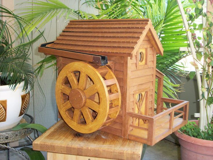 12 water wheel house with water trough wood creations for Small pond house plans