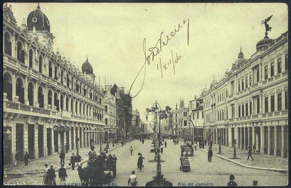 Rio de Janeiro - Avenida Central - Foto Malta - Cartão Postal antigo original, editado por A. Ribeiro, circulado, 1906.