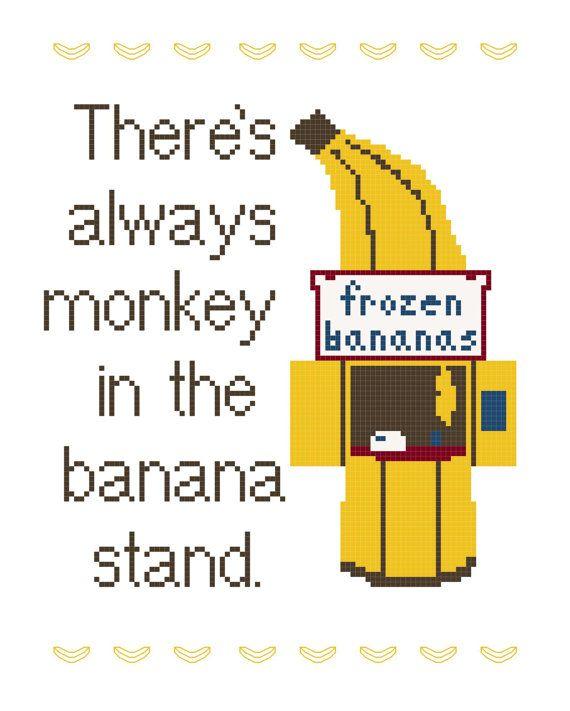 Cross Stitch Pattern -- Banana Stand 8x10 and 3x5