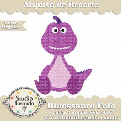 Dinossauro Fofo, Cute Dinosaur, Barney, Pré-Histórico, Animal, Corte Regular, Regular Cut, Silhouette, Arquivo de Recorte, DXF, SVG, PNG