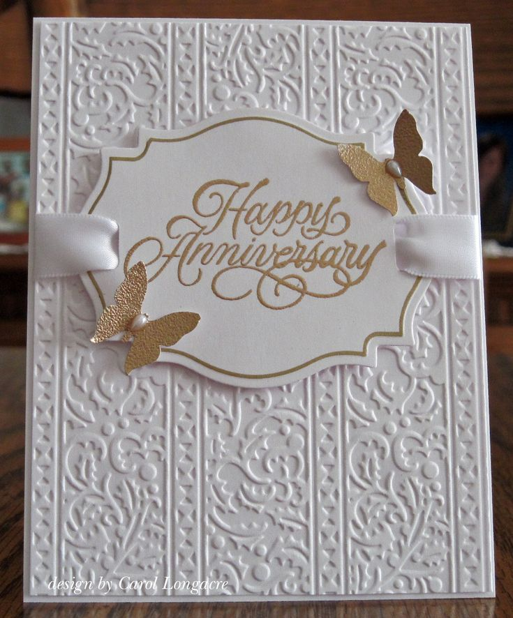 """ this one went with a simple & elegant design, using a SB labels 18 for the sentiment panel and a CB ef for the background. I edged the die cut with a Marvy gold paint pen, and used a slot punch to weave the ribbon through the panel. I embossed the sentiment and butterflies with gold ep, and added a teardrop pearl to each butterfly body. The white satin ribbon was from my stash, and the stamp I used is from Rubber Stampede."""