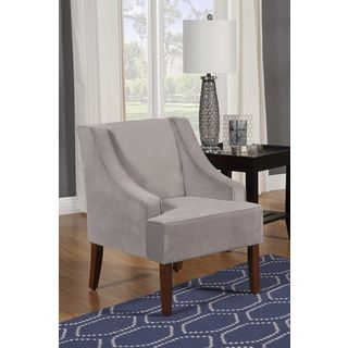 HomePop Dove Grey Velvet Swoop Arm Accent Chair | Overstock.com Shopping - The Best Deals on Living Room Chairs