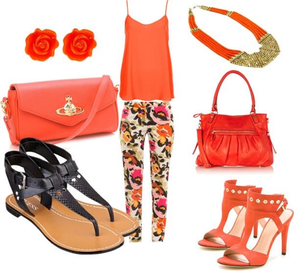 """Orange floral pants outfit"" by esperanzandrea on Polyvore"