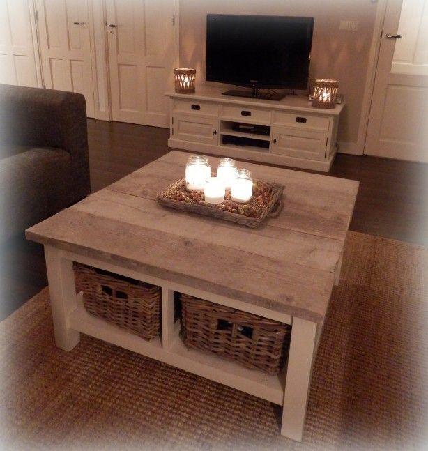Witte tafel gepimpt met steigerhout. Planken op maat gezaagd en vastgezet met montagekit.