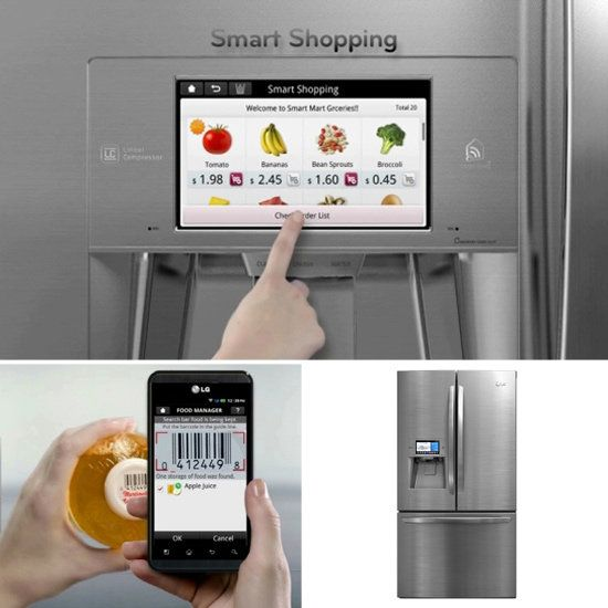 LG Smart Thing touch screen refrigerator helps you keep health and fitness goals in line.