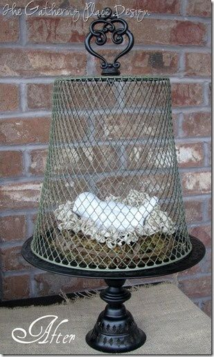 I picked up a few wire wastebaskets at the dollar store a while back wanting to do something like this with them. I just spray painted the basket in 'Oregano' and then added a metal finial with a bolt to the top (or bottom) of the basket. - rugged-life.com