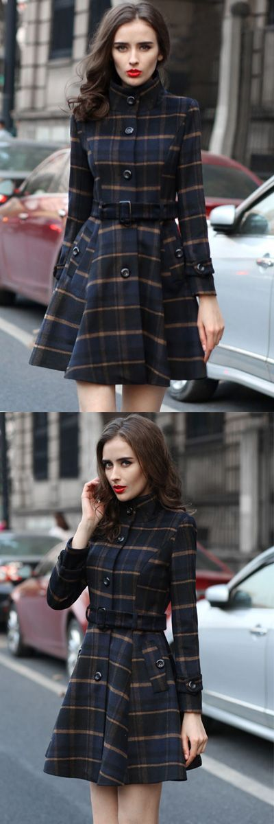 Fashion Plaid Button Down Belted Coat