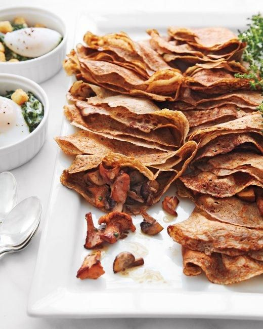 Whole Grain Goodness // Buckwheat Crepes with Mushroom Filling RecipeFood Savory, Breakfast Brunches, Buckwheat Crepes, Crepes Recipe Martha Stewart, Filling Recipe, Food Creps, Bacon Filling, Mushrooms Filling, Buckwheat Recipe