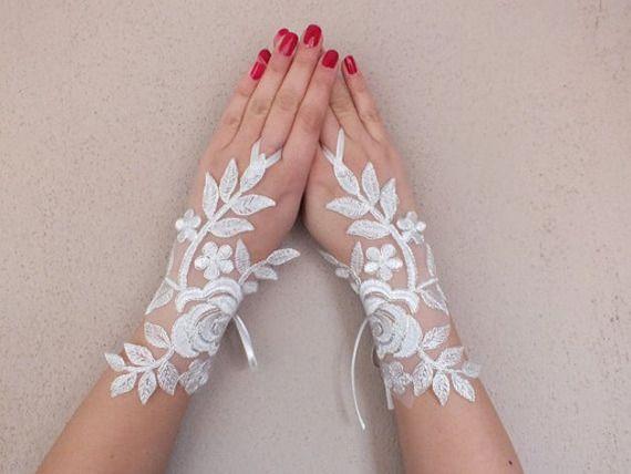 gants de mariage ivoire, gants de dentelle française, Mitaines