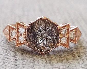 Antique Diamond Rutilated Quartz Engagement Ring by PenelliBelle