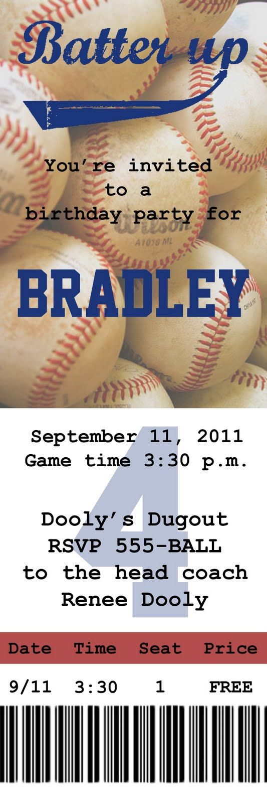 I love the idea of an invite like this to a baseball game b'day party or bachelor/ette