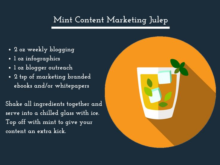 Mint Content Marketing Julep: Shake all ingredients together and serve into a chilled glass with ice. Top off with mint to give your content an extra kick.