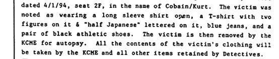 the day of his death Cobain/Kurt was wearing a t-shirt with two figures on it & ¨half Japanese¨ lettered on it.