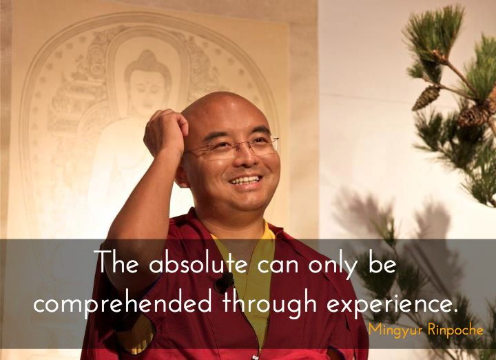 """The absolute ~ Mingyur Rinpoche http://justdharma.com/s/l05ex  The absolute can only be comprehended through experience.    – Mingyur Rinpoche  from the book """"The Joy of Living: Unlocking the Secret and Science of Happiness"""" ISBN: 978-0307347312  -  https://www.amazon.com/gp/product/0307347311/ref=as_li_tf_tl?ie=UTF8&camp=1789&creative=9325&creativeASIN=0307347311&linkCode=as2&tag=jusdhaquo-20"""