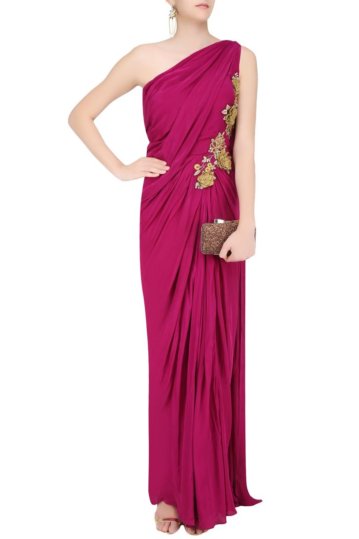 MAYANK SHARMA Burgundy 3D floral applique work one shoulder saree gown available only at Pernia's Pop Up Shop.