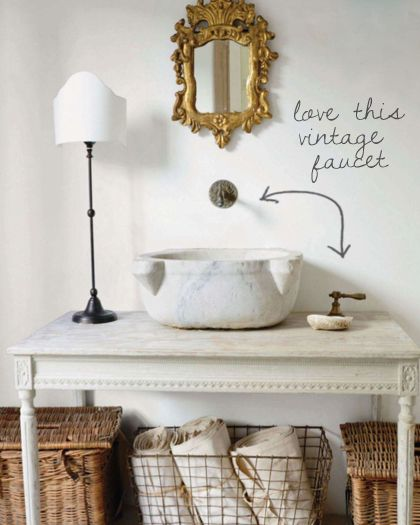.Backsplash Ideas, Vanities, Interiors Design, Antiques Mirrors, Marbles, French Country, Sinks, Wire Baskets, Bathroom Decor