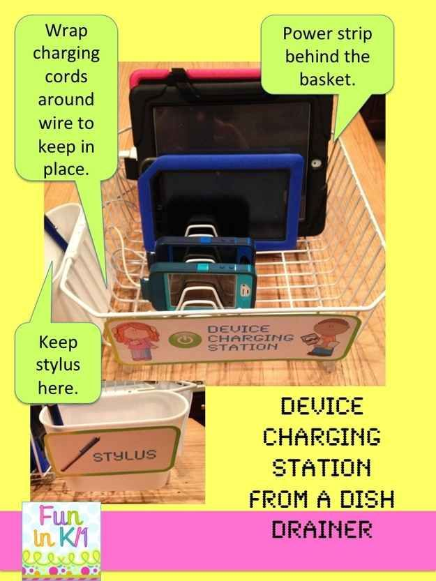 Use a dish draining rack as a charging station.   35 Money-Saving Classroom DIYs For Teachers On A Budget
