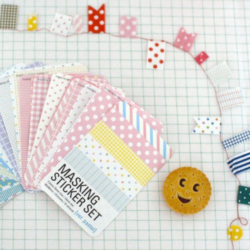 Masking sticker set refill basic & pastel by DearCocoSupplies