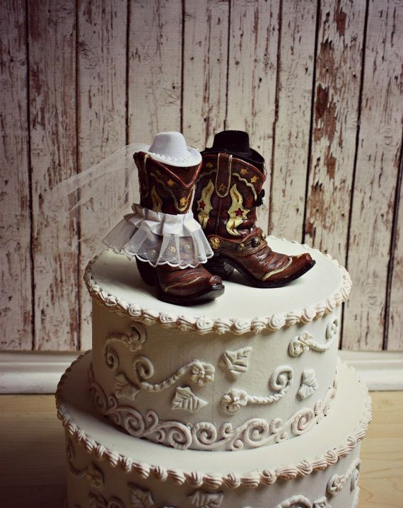 Cowboy Boots Wedding Cake TopperWestern Themed by MorganTheCreator, $42.00
