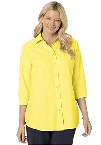 Womens Plus Size Classic 34 Sleeve Oxford Shirt Light Yellow1X >>> Details can be found by clicking on the image.Note:It is affiliate link to Amazon.