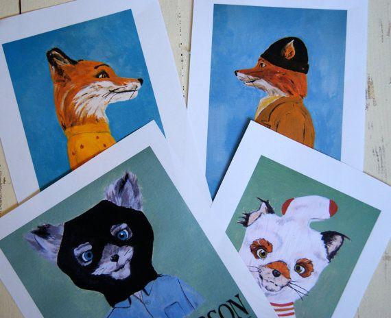 Fantastic Mr Fox prints  Set of four Fox family by Maggiesneedle
