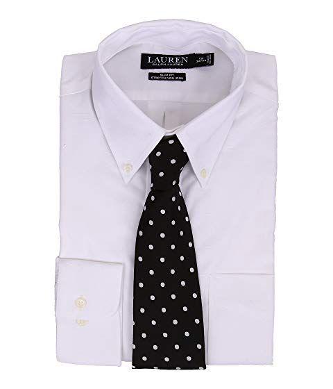 Lauren Ralph Lauren Mens Slim-Fit Non-Iron Pinpoint Dress Shirt