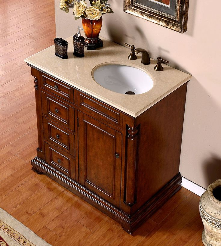 silkroad 36 inch antique single sink bathroom vanity cream marfil marble counter top and storage with shelves white ceramic under mount sinks