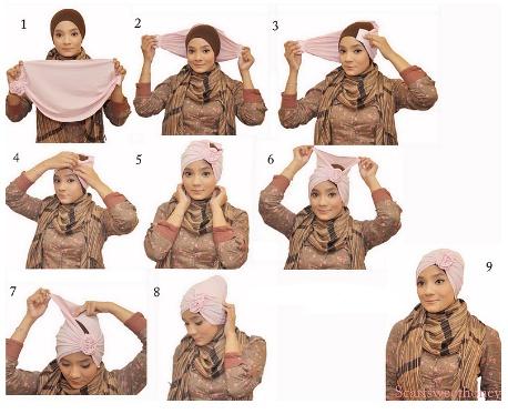 Cara Memakai Jilbab Turban Rose | Cara Memakai Jilbab
