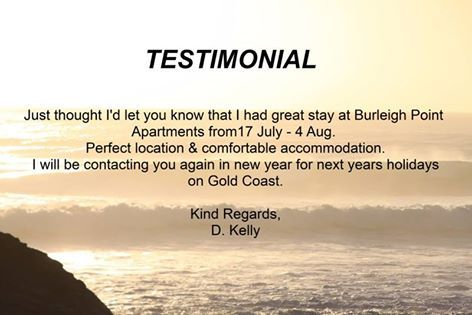 We just love receiving great emails about our holiday accommodation. If you would like to feel like you have gotten your monies worth for excellent holiday accommodation, contact us today 07 5576 2233!