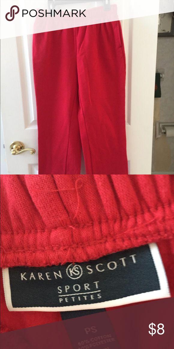 Red sweatpants Karen Scott Sport Petites sweatpants. Red. Straight/wide leg opening. Size PS Karen Scott Pants Track Pants & Joggers