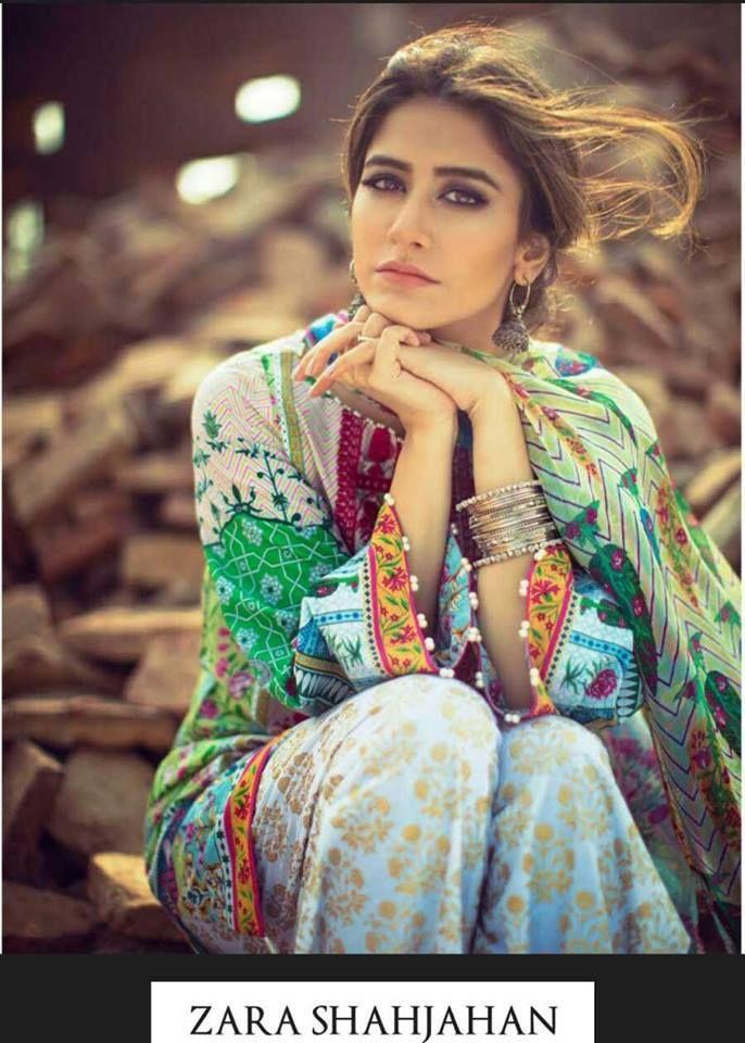 Zara Shahjahan Noor Bano Lawn Summer Shades 2016, you'll discover printing work, adorned neck, laces work, and thread work. Zara Shahjahan Noor Bano