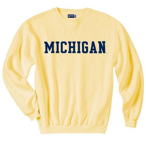 Gear College of Michigan Butter Yellow Primary Crewneck Sweatshirt