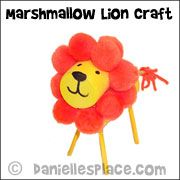 Lion Marshmallow Craft from www.daniellesplace.com